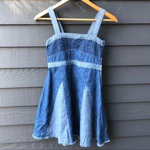 Lucky Brand Girls Two Toned Denim Sleeveless Dress
